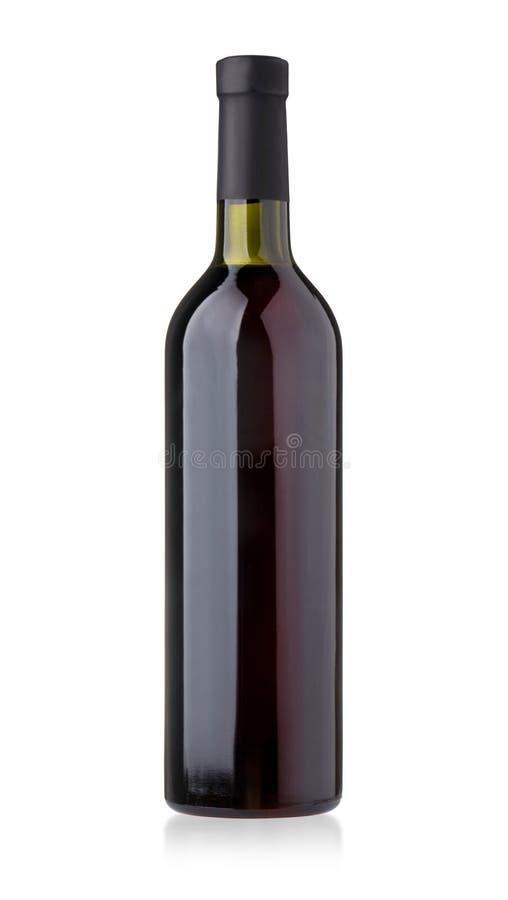 Isolerat flaskrött vin royaltyfria foton