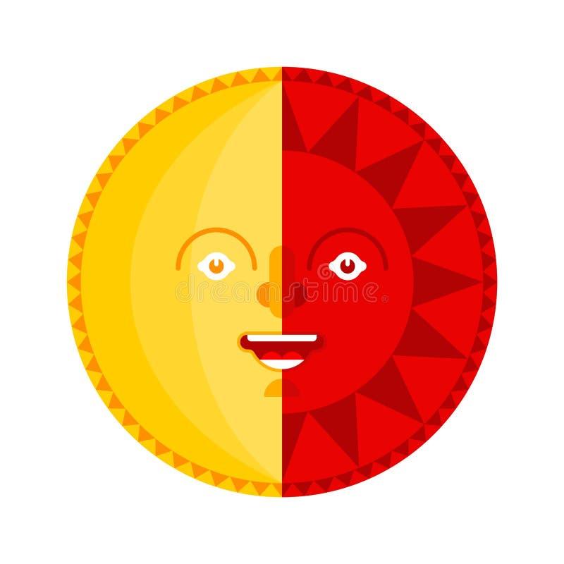 Isolerat folk symbol för sol- och måneframsida ocks? vektor f?r coreldrawillustration royaltyfri illustrationer