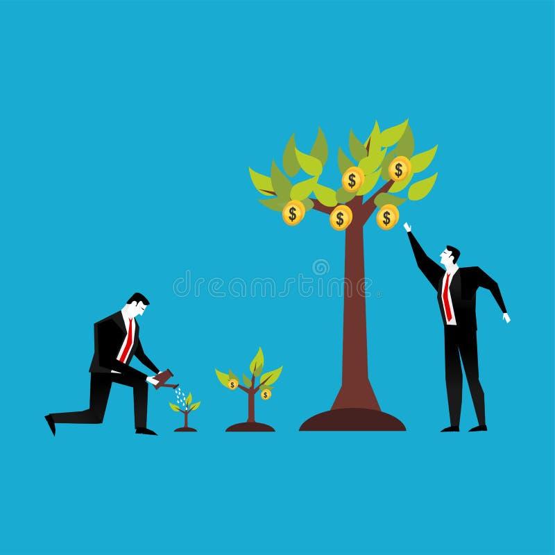 isolerat framförande för begrepp 3d investering Affärsfolk som bevattnar och samlar vinstväxten stock illustrationer