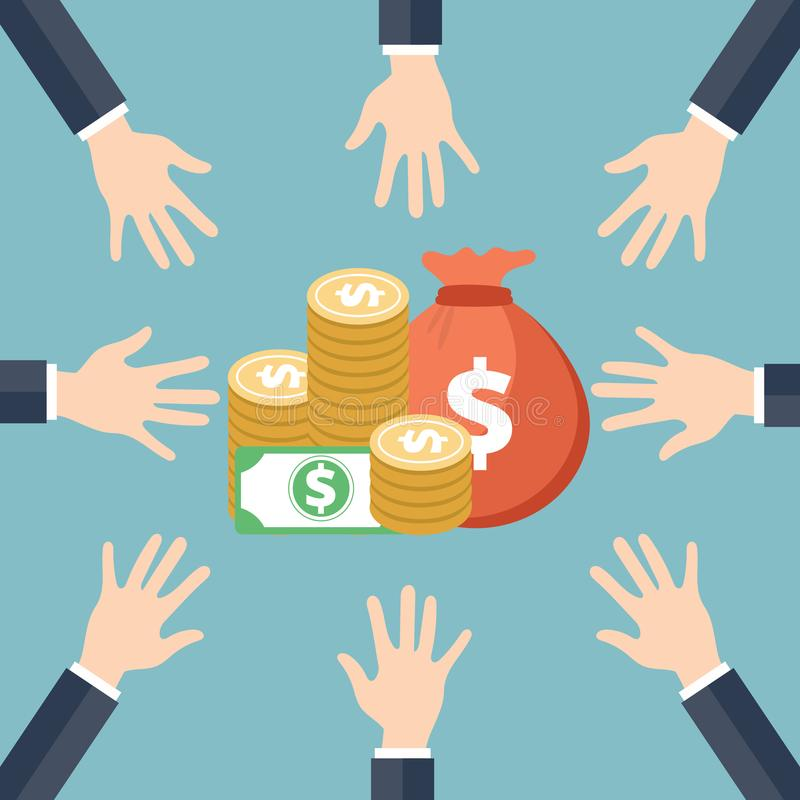 isolerat framförande för begrepp 3d investering ne för handpengar Pengaraktieillustration stock illustrationer