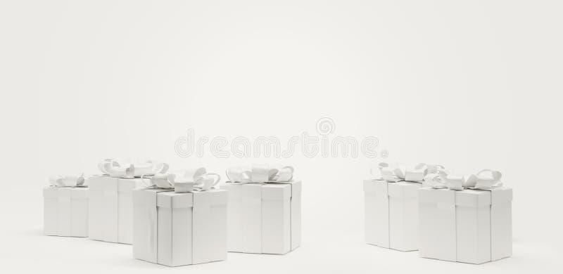 Isolerat framlägger festliga gåvaaskar 3d-illustration stock illustrationer