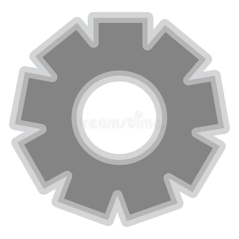 Isolerat grått kugghjulstycksymbol stock illustrationer
