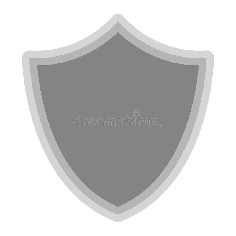 Isolerat grått sköldsymbol på vit bakgrund vektor illustrationer