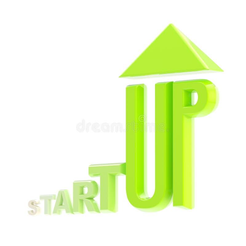 Isolerat grönt glansigt växande emblem för start royaltyfri illustrationer
