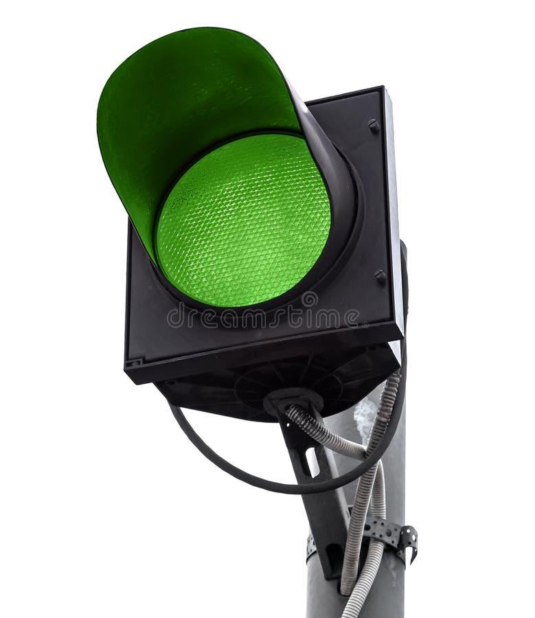 Isolerat grönt trafikljus fotografering för bildbyråer