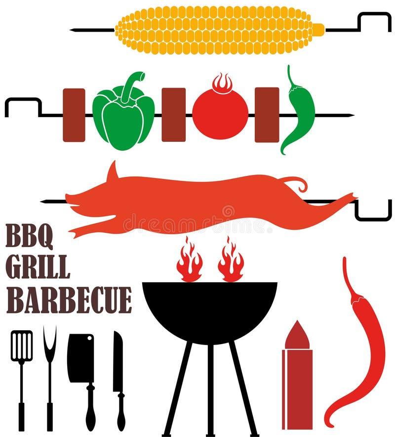 isolerat grillfestgaller stock illustrationer