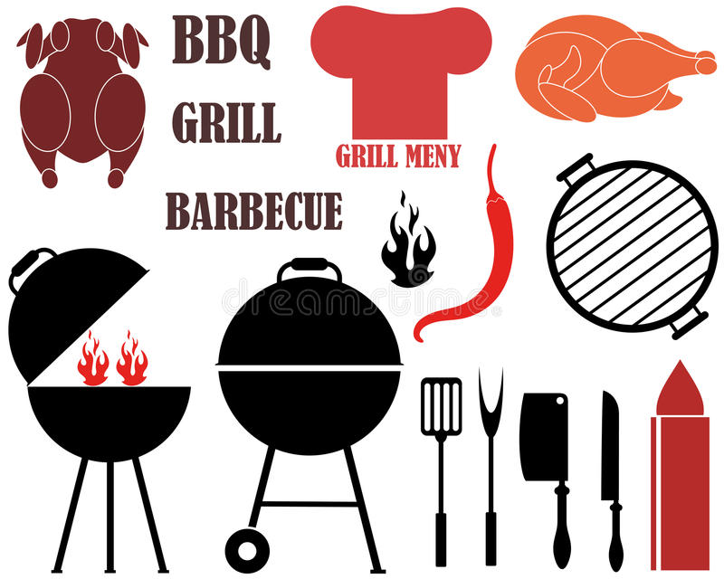 isolerat grillfestgaller royaltyfri illustrationer