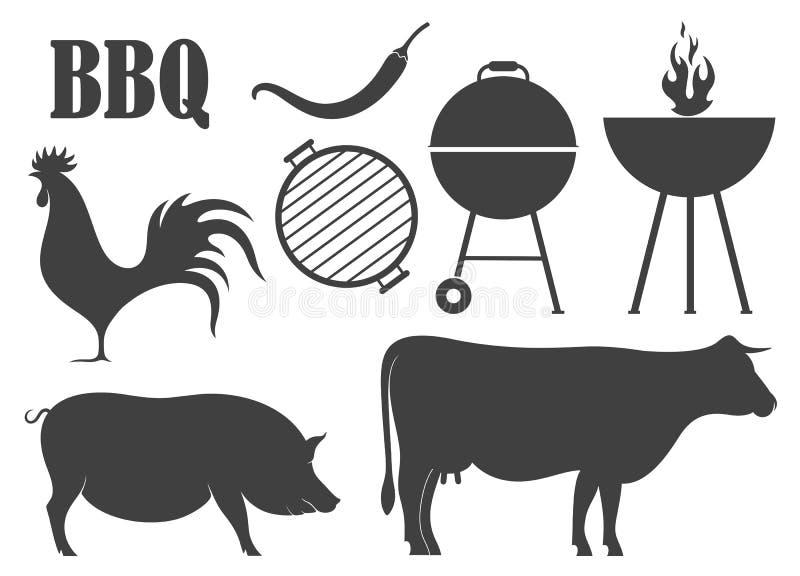 isolerat grillfestgaller Mat vektor illustrationer