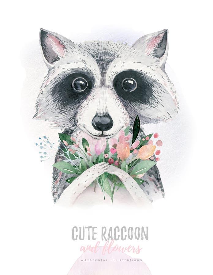 Isolerat gulligt för vattenfärg behandla som ett barn tecknade filmen tvättbjörndjuret med blommor Illustration för skogbarnkamma vektor illustrationer