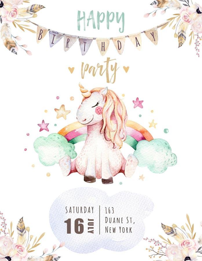Isolerat gulligt kort för vattenfärgenhörninginbjudan Barnkammareenhörningillustration Affisch för prinsessaregnbågeenhörningar vektor illustrationer