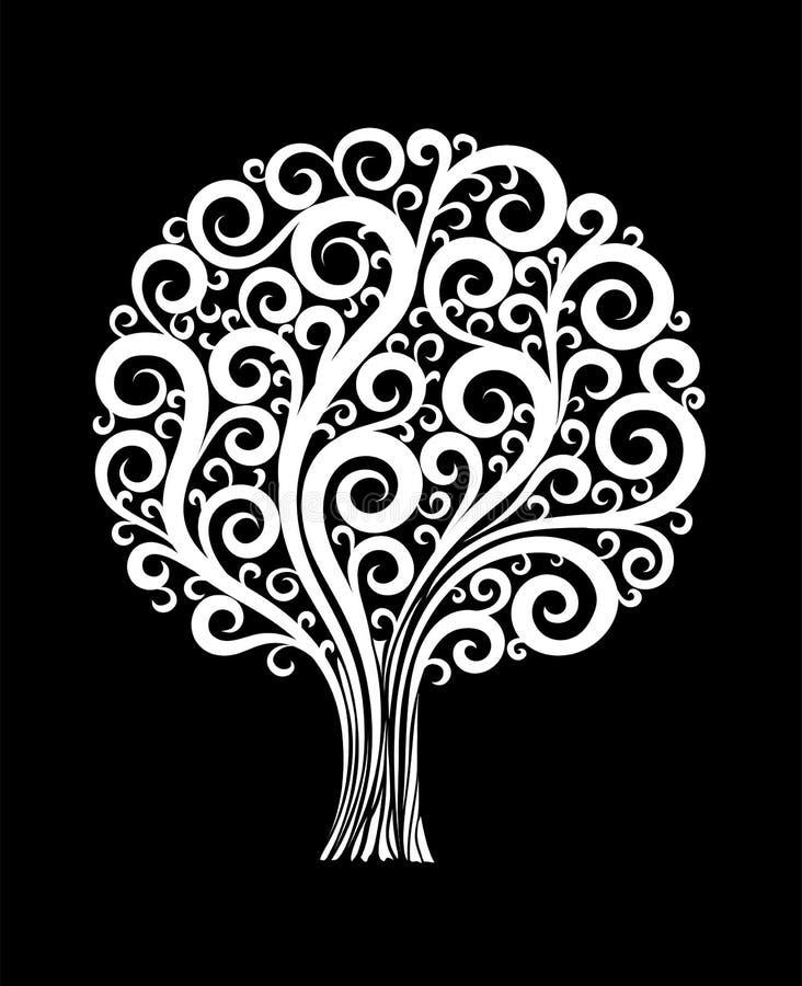 Isolerat härligt monokromt svartvitt träd i en blommadesign med virvlar och krusidullar stock illustrationer