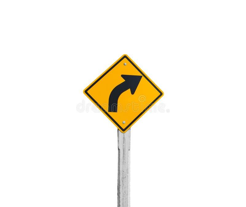 Isolerat högert tecken för gul vänd arkivfoton