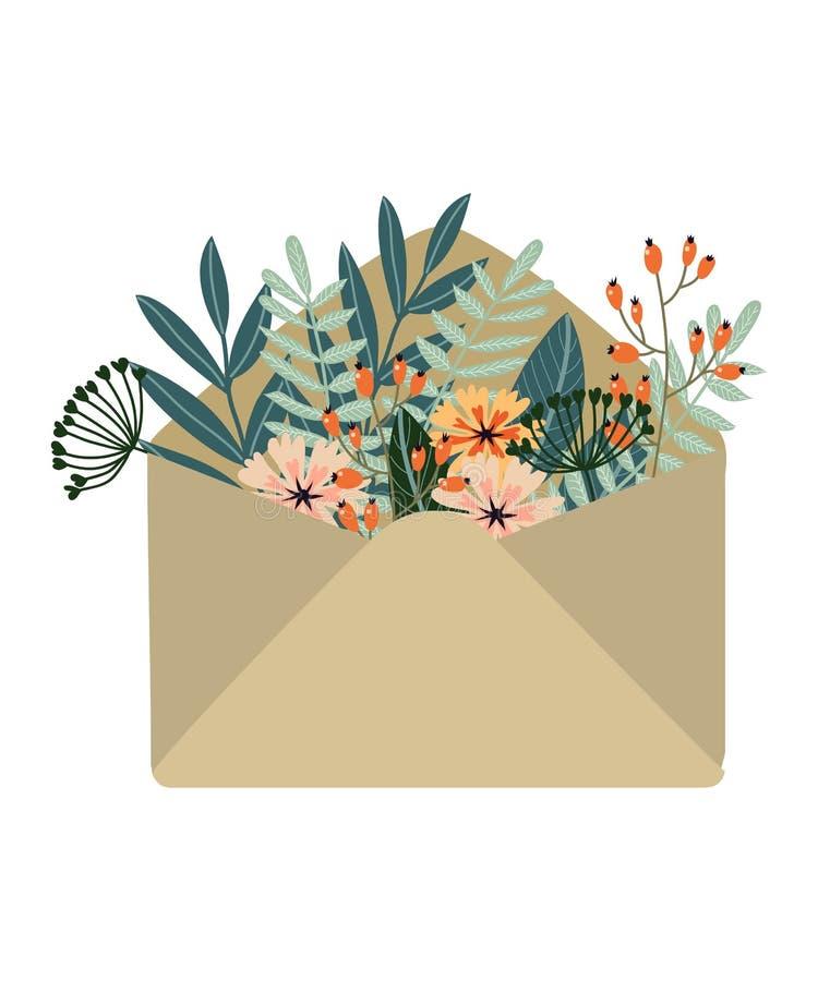 Isolerat hand-dragit kulört kraft kuvert med blommor vektor illustrationer