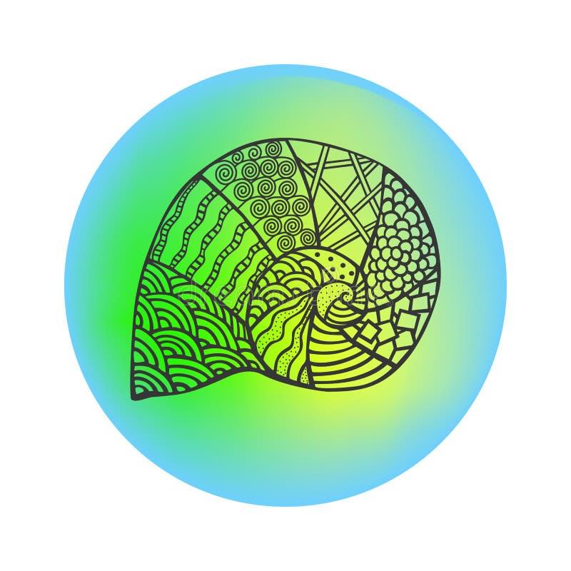 Isolerat hand dragit svart översiktshavsskal på kulör rund bakgrund Prydnad av kurvlinjer vektor illustrationer