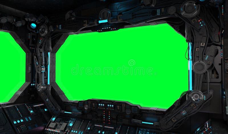 Isolerat inre fönster för rymdskeppgrunge vektor illustrationer