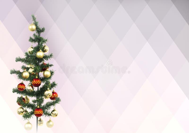 Isolerat julträd som smyckas med röda och gula bollar royaltyfri fotografi