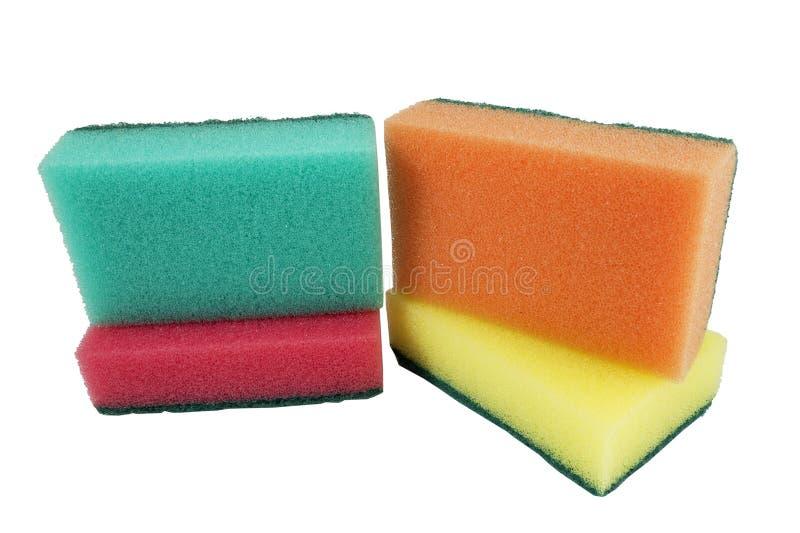 isolerat kök sponges white arkivbild