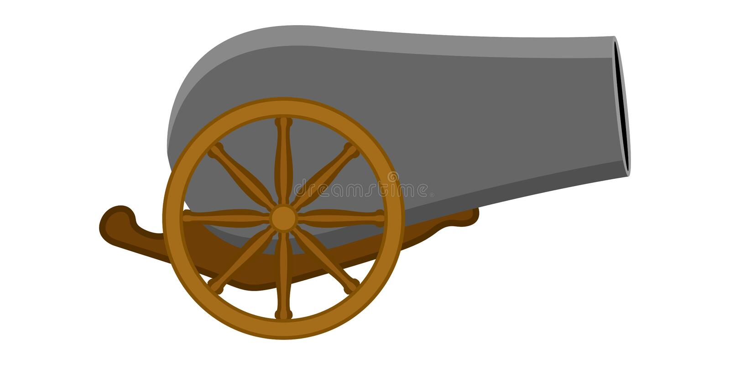 Isolerat kanonvapen royaltyfri illustrationer