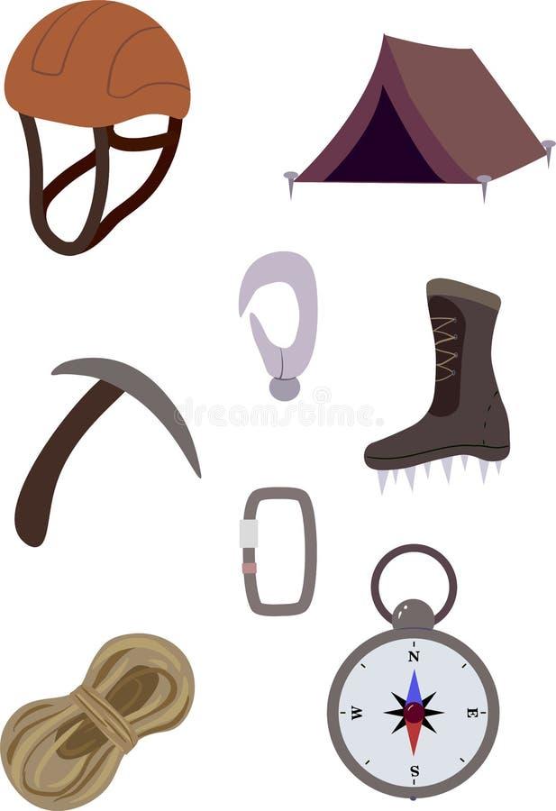 Isolerat klättra i berg utrustning stock illustrationer