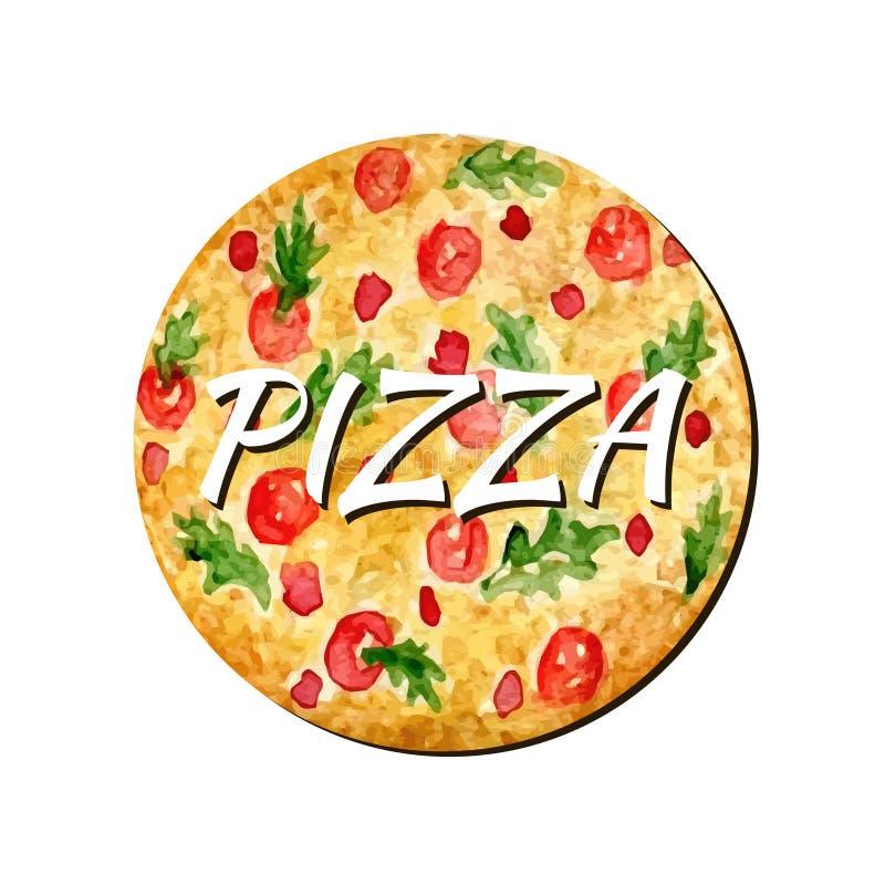 Isolerat konstverk för vattenfärg pizza Illustration för handmålarfärgvektor Vattenfärgen kan användas för klistermärke, avatar,  royaltyfri illustrationer