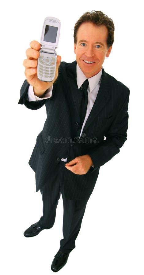 isolerat le för affärsmanmobiltelefon holding arkivbilder