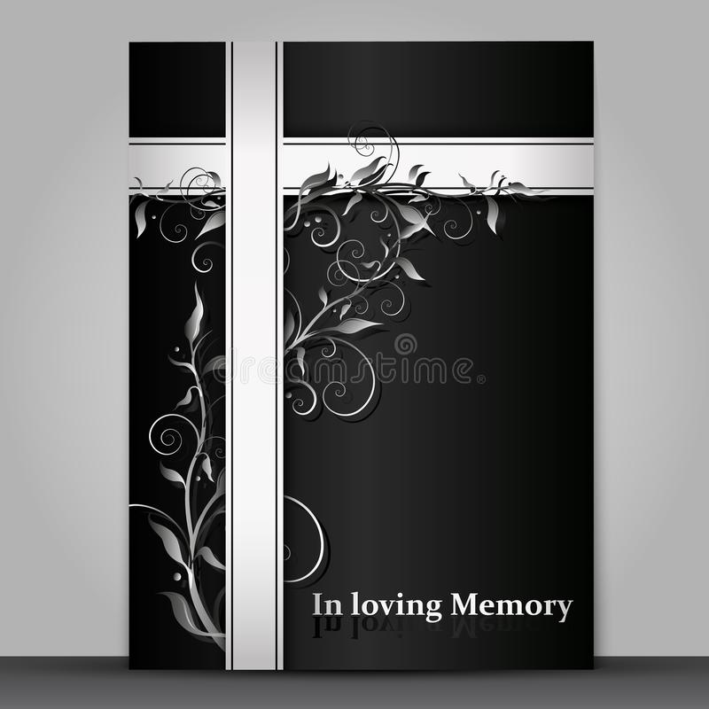 Isolerat mörkt sörjande kort med effekt för blom- prydnad 3d på grå bakgrund royaltyfri illustrationer