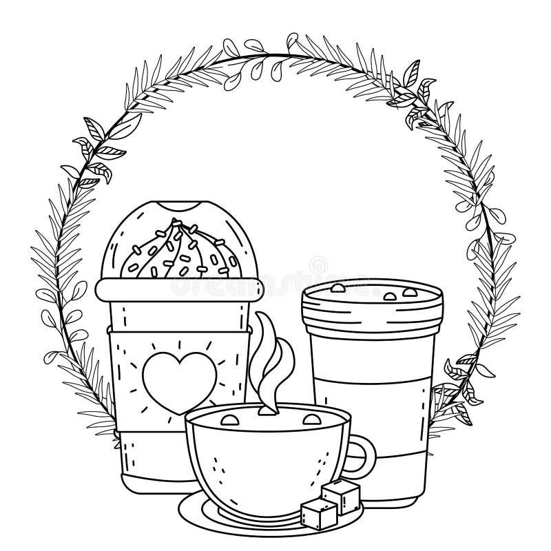 Isolerat med is kaffe rånar och exponeringsglasvektordesignen royaltyfri illustrationer