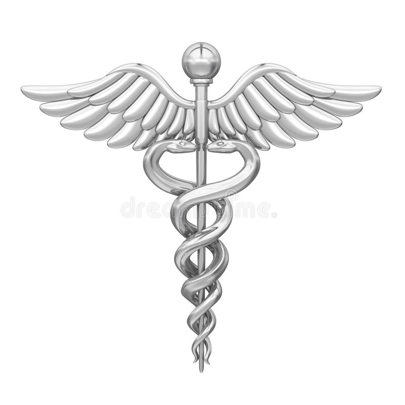 Isolerat medicinskt symbol för Caduceus stock illustrationer