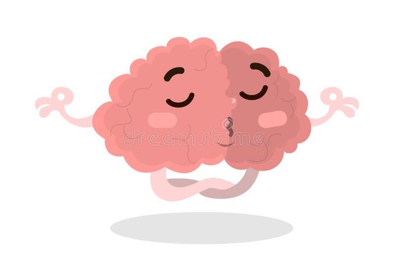 Isolerat meditera hjärnan royaltyfri illustrationer