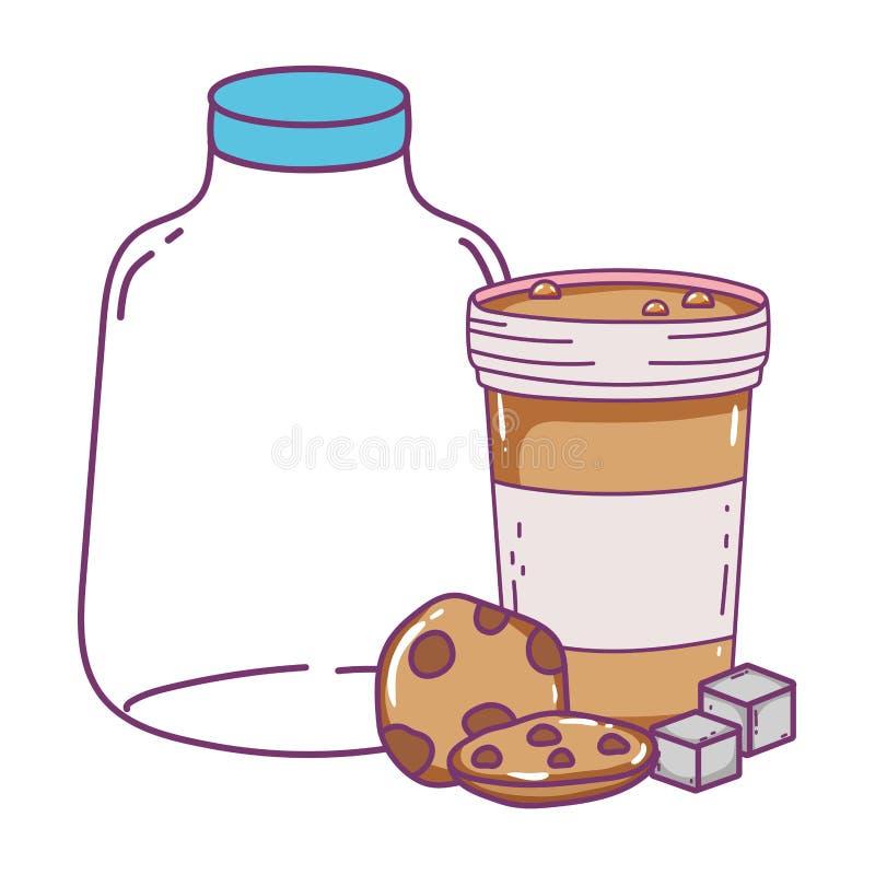 Isolerat mjölka flask- och kaffeexponeringsglasdesignen royaltyfri illustrationer