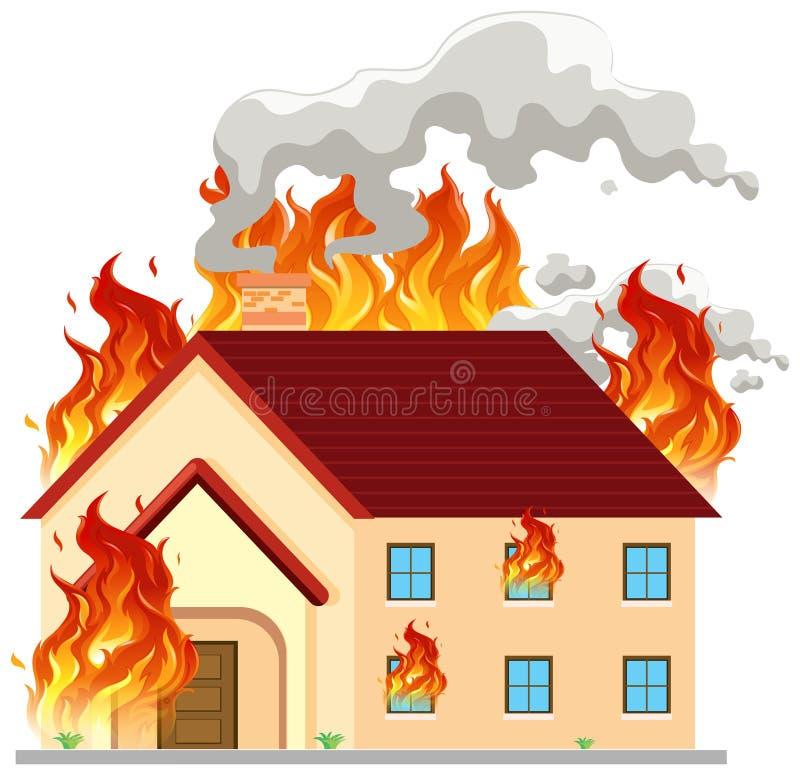 Isolerat modernt hus på brand stock illustrationer