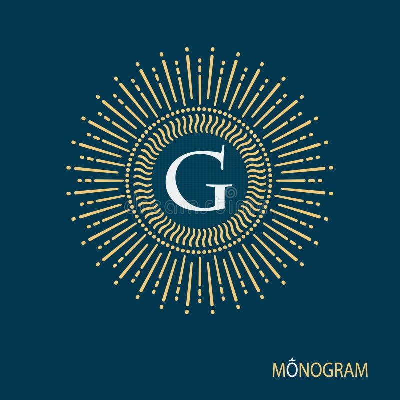 Isolerat monogramtecken Linjär teckning av strålar av solen Tappningstil av bilden royaltyfri illustrationer