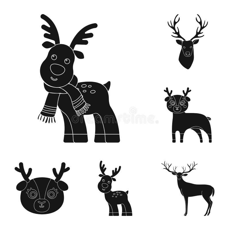 Isolerat objekt av älg- och huvudsymbolen Ställ in av älg- och fullvuxen hankronhjortmaterielsymbolet för rengöringsduk stock illustrationer