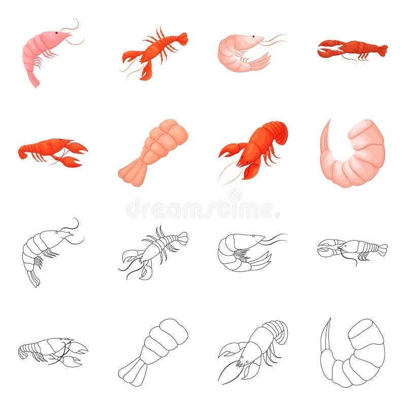 Isolerat objekt av aptitretare- och havsymbolet Samling av aptitretare- och l?ckerhetvektorsymbolen f?r materiel vektor illustrationer