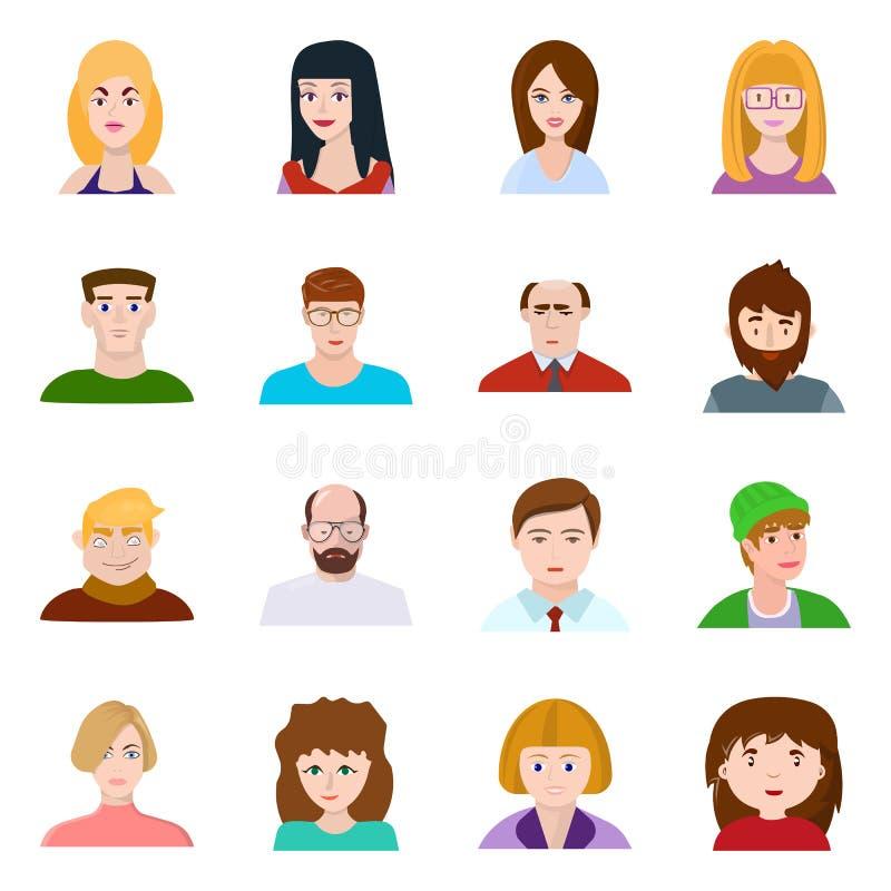 Isolerat objekt av avatar- och folksymbolen Ställ in av avatar- och modevektorsymbolen för materiel stock illustrationer