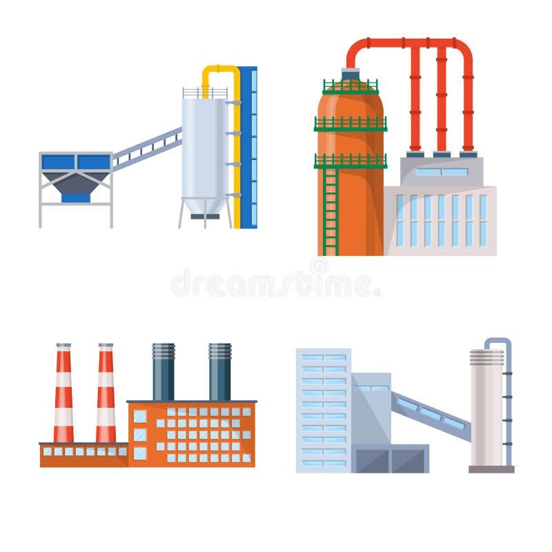 Isolerat objekt av bransch- och byggnadstecknet Samling av bransch- och konstruktionsvektorsymbolen f?r materiel stock illustrationer