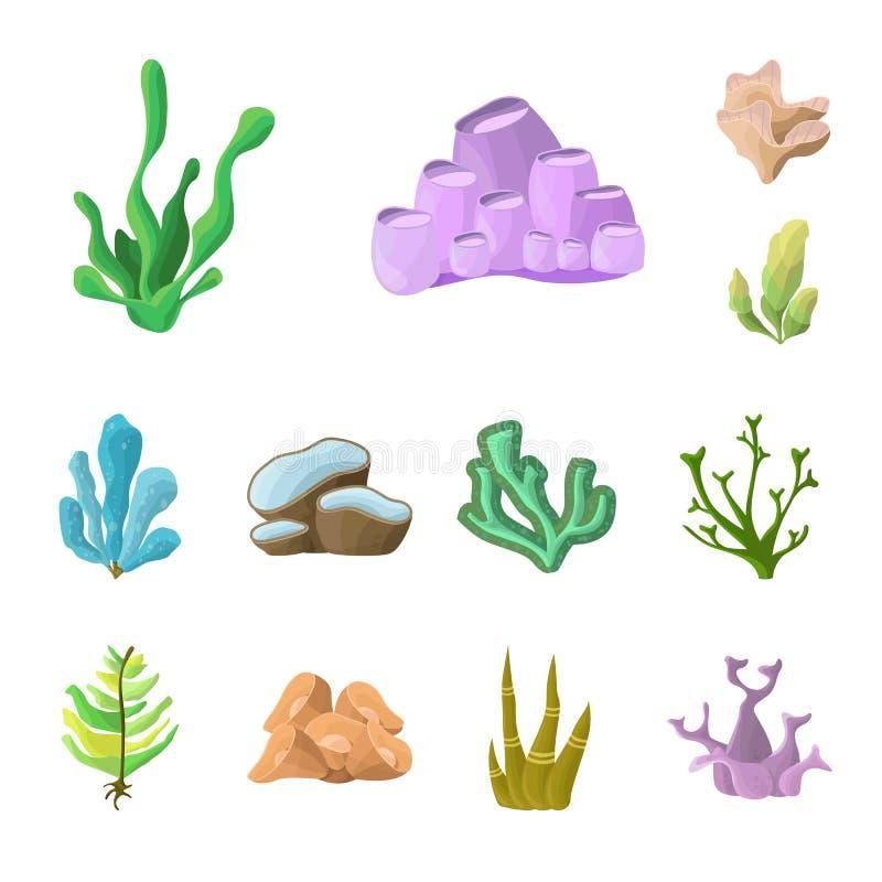 Isolerat objekt av den undervattens- och akvariumlogoen Samling av det undervattens- och havmaterielsymbolet för rengöringsduk vektor illustrationer