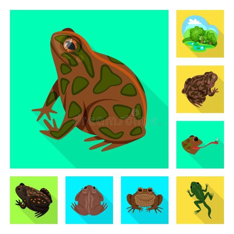 Isolerat objekt av djurliv- och myrlogoen Samling av illustrationen f?r djurliv- och reptilmaterielvektor stock illustrationer
