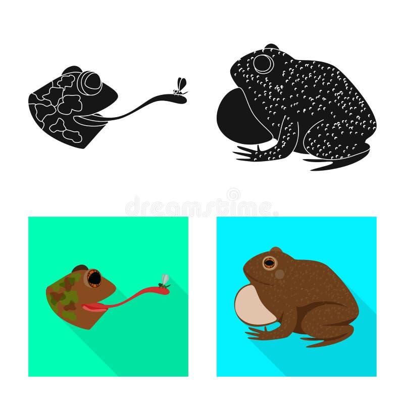 Isolerat objekt av djurliv- och myrsymbolet Samling av illustrationen f?r djurliv- och reptilmaterielvektor stock illustrationer