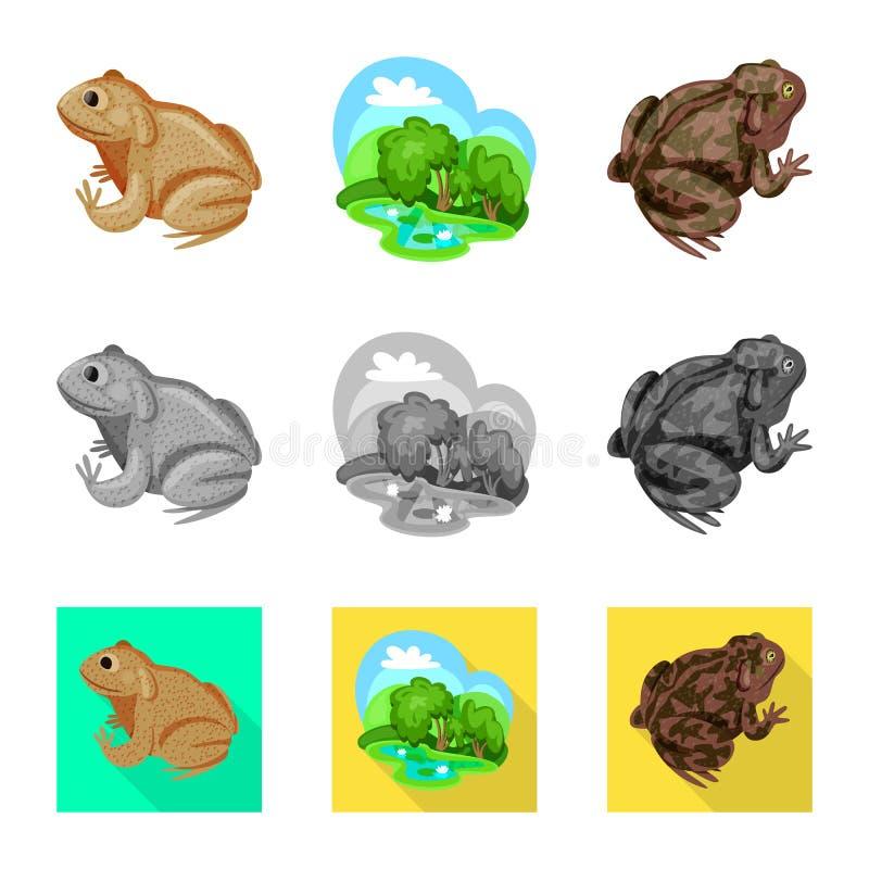 Isolerat objekt av djurliv- och myrtecknet Samling av illustrationen f?r djurliv- och reptilmaterielvektor stock illustrationer