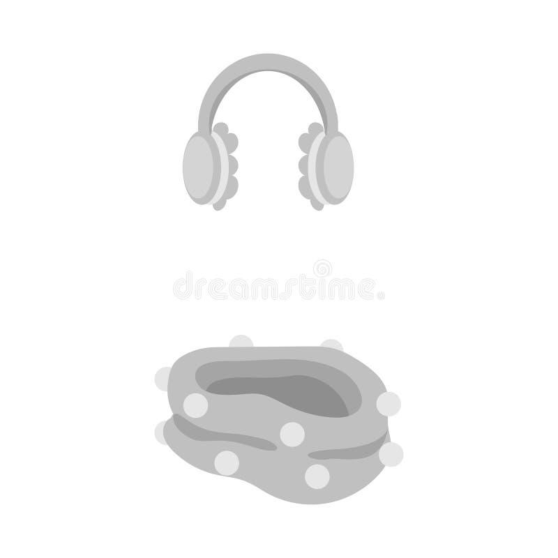 Isolerat objekt av earmuff- och halsduksymbolen St?ll in av earmuff- och bl?ttmaterielsymbolet f?r reng?ringsduk royaltyfri illustrationer