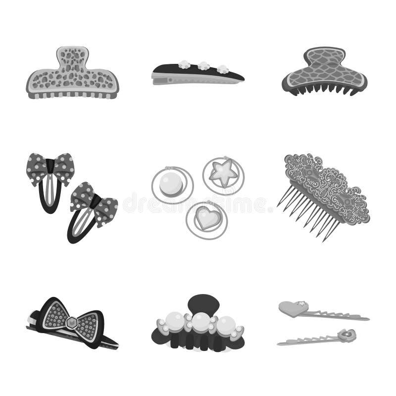 Isolerat objekt av frisering- och haircliplogoen Samling av illustrationen f?r frisering- och modematerielvektor stock illustrationer