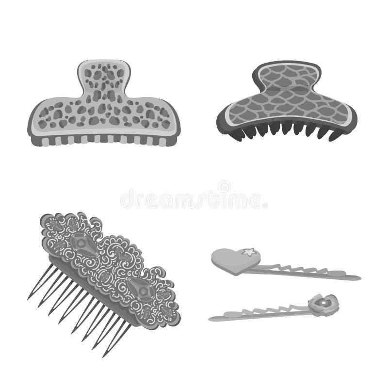 Isolerat objekt av frisering- och haircliplogoen Samling av frisering- och modevektorsymbolen f?r materiel stock illustrationer