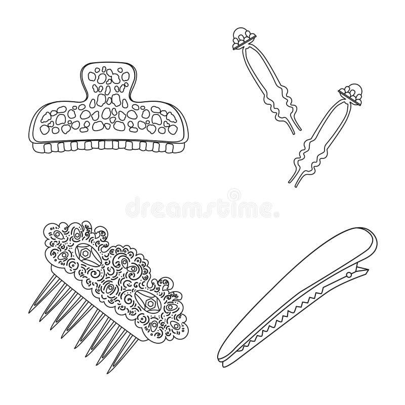 Isolerat objekt av frisering- och haircliplogoen St?ll in av frisering och illustration f?r tillbeh?rmaterielvektor vektor illustrationer