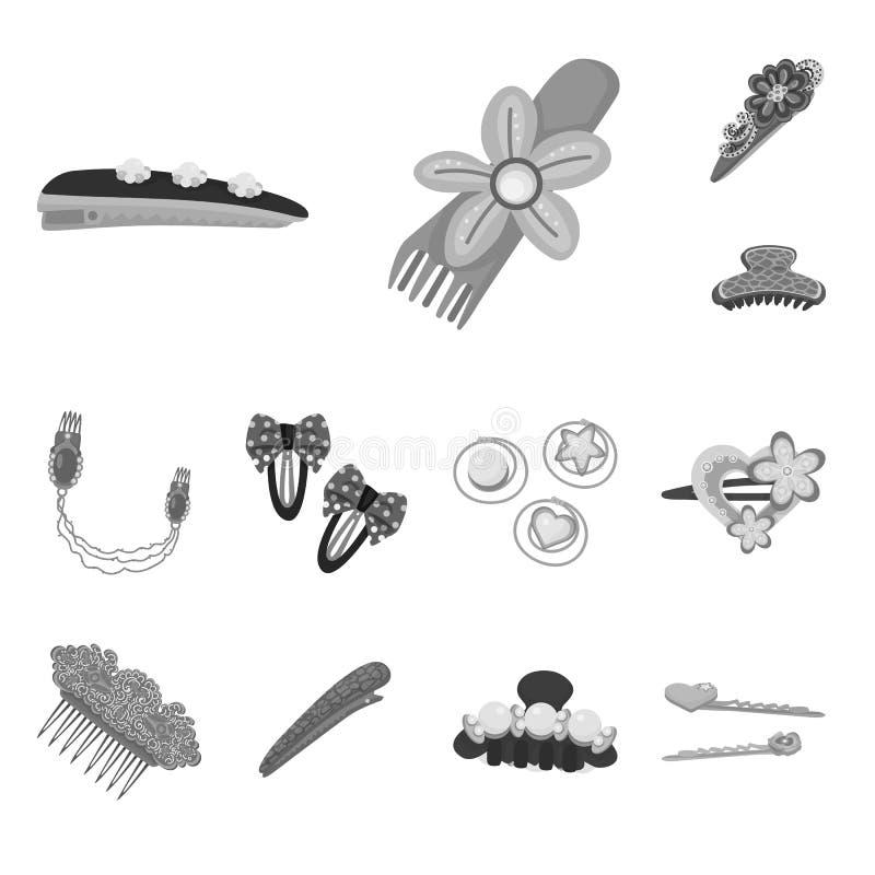 Isolerat objekt av frisering- och hairclipsymbolen Samling av illustrationen f?r frisering- och modematerielvektor vektor illustrationer