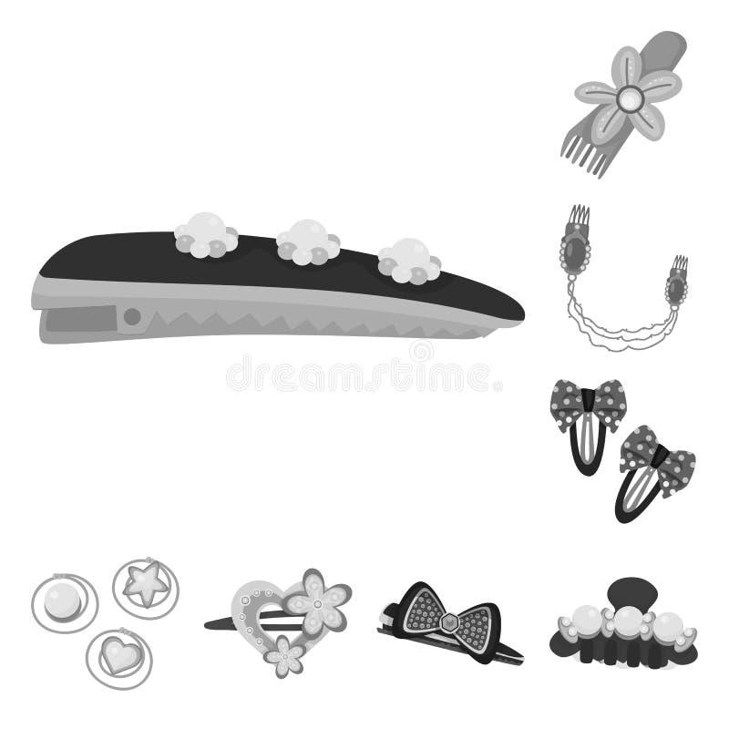 Isolerat objekt av frisering- och hairclipsymbolen Samling av frisering- och modematerielsymbolet f?r reng?ringsduk stock illustrationer