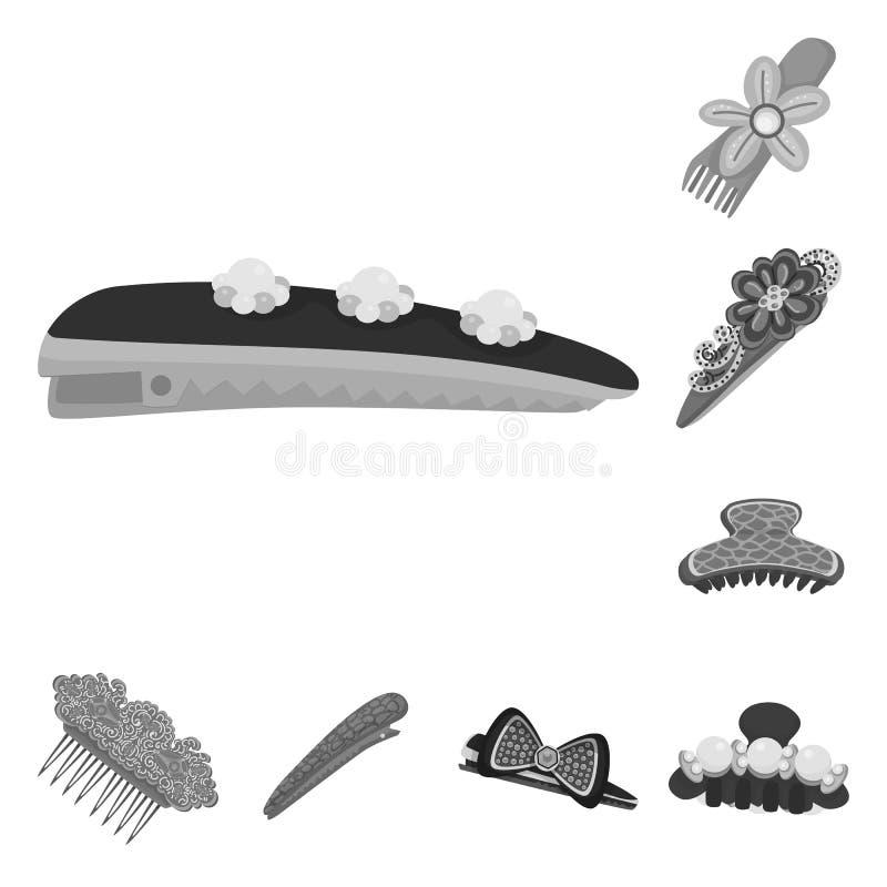 Isolerat objekt av frisering- och hairclipsymbolet Samling av frisering- och modevektorsymbolen f?r materiel royaltyfri illustrationer