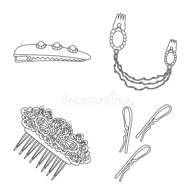 Isolerat objekt av frisering- och hairclipsymbolet St?ll in av frisering och tillbeh?rvektorsymbolen f?r materiel vektor illustrationer