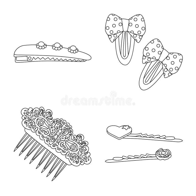 Isolerat objekt av frisering- och haircliptecknet Samling av frisering och tillbeh?rmaterielsymbolet f?r reng?ringsduk vektor illustrationer