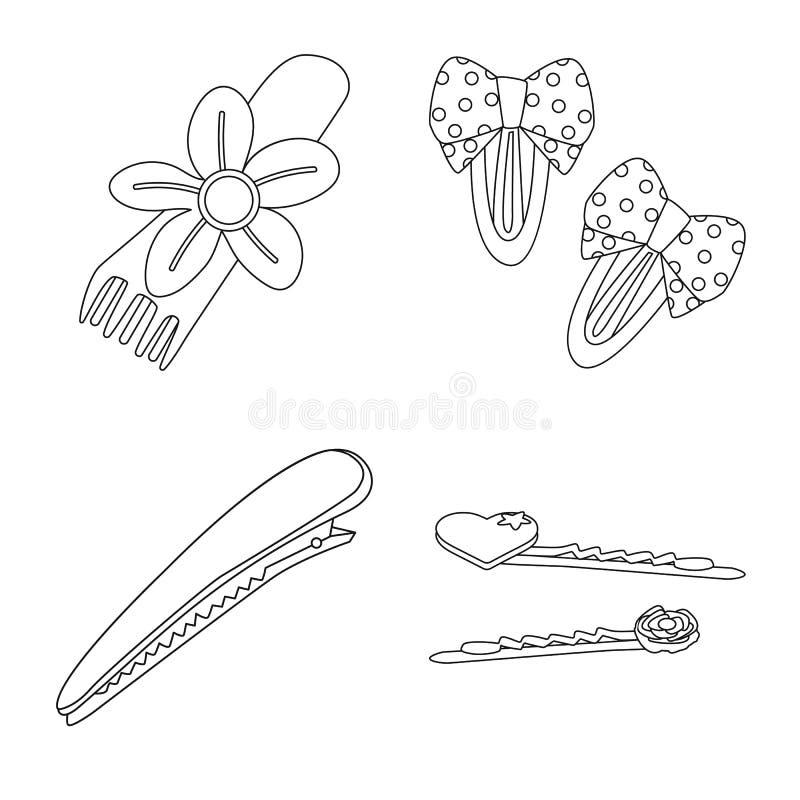 Isolerat objekt av frisering- och haircliptecknet Samling av frisering och tillbeh?rvektorsymbol f?r materiel stock illustrationer